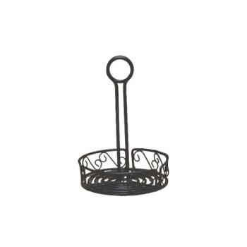 "AMMWBCC6 - American Metalcraft - WBCC6 - Ironworks™ 6 1/4"" Scroll Wrought Iron Condiment Rack Product Image"