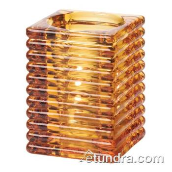 HLW1511A - Hollowick - 1511A - Amber Horizontal Rib Block Lamp Product Image