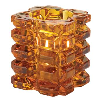 HLW5151A - Hollowick - 5151A - Amber Faceted Cube Votive Lamp Product Image