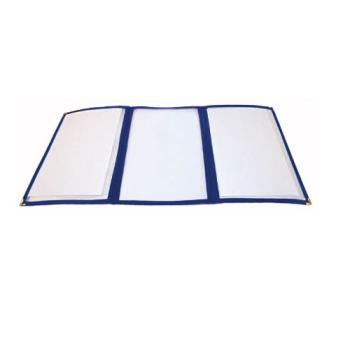 WINPMCT9B - Winco - PMCT-9B - 12 in x 9 1/2 in Blue Triple Fold Menu Cover Product Image