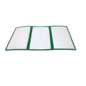 WINPMCT9G - Winco - PMCT-9G - 12 in x 9 1/2 in Green Triple Fold Menu Cover Product Image