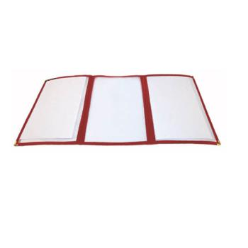 "WINPMCT9R - Winco - PMCT-9R - 12"" x 9 1/2"" Red Triple Fold Menu Cover Product Image"