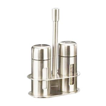 "AMMSP6 - American Metalcraft - SP6 - 3 1/4"" Round Stainless Steel Salt & Pepper Set w/Base Product Image"