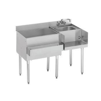"KRO18W54L7 - Krowne - 18-W54L-7 - 1800 Series 54"" Cold Plate Cocktail Workstation w/ Left Ice Bin Product Image"