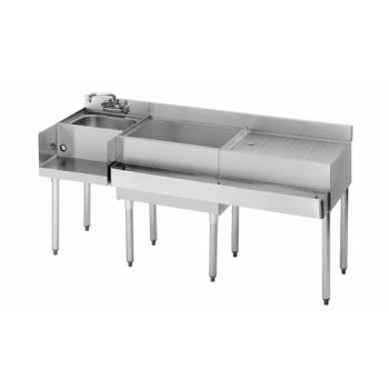 "KRO18W66L - Krowne - 18-W66L - 1800 Series 66"" Cocktail Workstation w/ Center Ice Bin Product Image"