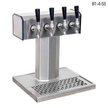 GLTBT4SS - Glastender - BT-4-SS - 4-Faucet Stainless Air Cooled Tee Tower w/Drain Pan Product Image