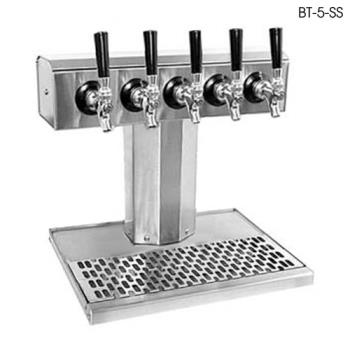 GLTBT5SS - Glastender - BT-5-SS - 5-Faucet Stainless Air Cooled Tee Tower w/Drain Pan Product Image