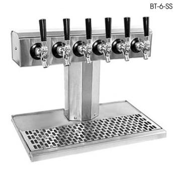 GLTBT6SS - Glastender - BT-6-SS - 6-Faucet Stainless Air Cooled Tee Tower w/Drain Pan Product Image