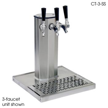 GLTCT2SS - Glastender - CT-2-SS - 2-Faucet Stainless Air Cooled Column Tower w/Drain Pan Product Image