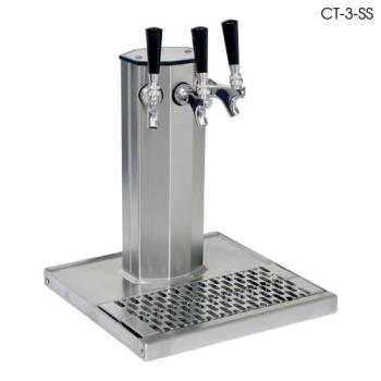 GLTCT3SS - Glastender - CT-3-SS - 3-Faucet Stainless Air Cooled Column Tower w/Drain Pan Product Image