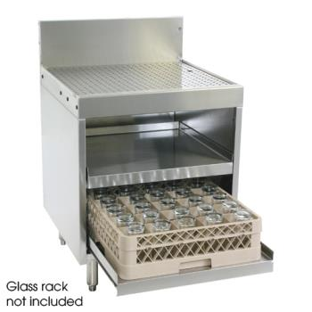 "GLTDBGR24RS - Glastender - DBGR-24-RS - 24"" x 24"" Drainboard/Glassrack w/Roll-out Shelves Product Image"