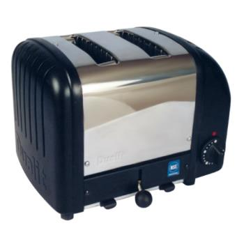 CDOCBT2B - Cadco - CBT-2B - Stainless Steel and Black 2 Slot Heavy Duty Bagel Toaster Product Image