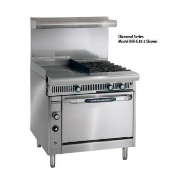 IMPIHRG242C - Imperial - IHR-G24-2-C - 36 in 2-Burner Diamond Series Gas Range w/ 24 in Griddle and Convection Oven Product Image