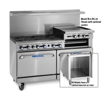 IMPIR4RG24CXB - Imperial - IR-4-RG24-C-XB - 48 in 4-Burner Gas Range w/ Raised Griddle, Convection Oven and Cabinet Base Product Image