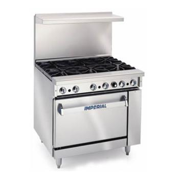 95402 - Imperial - IR-6 - 36 in 6-Burner Gas Range w/ Standard Oven Product Image