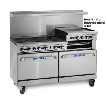 IMPIR6RG24 - Imperial - IR-6-RG24 - 60 in 6-Burner Gas Range w/ Raised Griddle and Standard Ovens Product Image