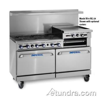"IMPIR6RG24 - Imperial - IR-6-RG24 - 60"" Range w/ 6 Burners, 24"" Raised Griddle & 2 Standard Ovens Product Image"