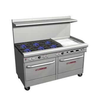 SOU4601DD2GR - Southbend - 4601DD-2GR - 400 Series 60 in Restaurant Range with 6 Burners, Griddle & Standard Ovens Product Image
