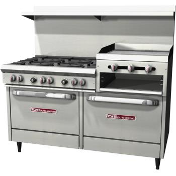 SOUS60DD2RR - Southbend - S60DD-2RR - 60 in 6-Burner 300 Series Gas Range w/ Raised Griddle and Standard Ovens Product Image