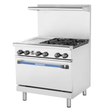 TURTARG12G4B - Turbo Air - TARG-12G4B - 36 in 4 Burner Gas Range w/12 in Left Side Griddle Product Image