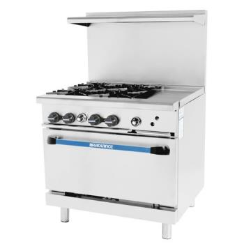 TURTARG4B12G - Turbo Air - TARG-4B12G - 36 in 4 Burner Gas Range w/12 in Right Side Griddle Product Image