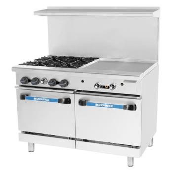 TURTARG4B24G - Turbo Air - TARG-4B24G - 48 in 4 Burner Gas Range w/24 in Right Side Griddle Product Image