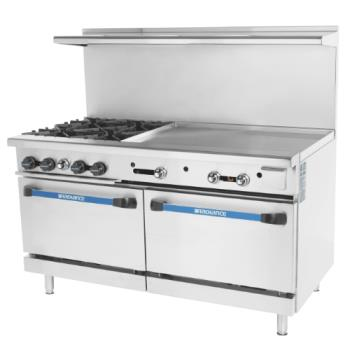TURTARG4B36G - Turbo Air - TARG-4B36G - 60 in 4-Burner Radiance Series Gas Range w/ Griddle and Standard Ovens Product Image