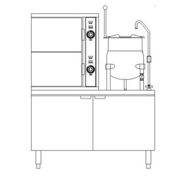 SOUSCX2S10 - Crown Steam - SCX-2-10 - 48 in 6 Pan Convection Steamer with  Steam Coil Base Product Image