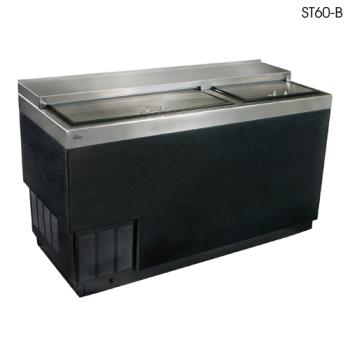 "GLTST60B - Glastender - ST60-B - 60"" Vinyl-Clad Bottle Cooler w/Stainless Interior Product Image"