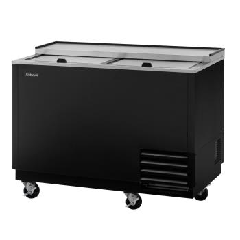 TURTBC50SBGFN - Turbo Air - TBC-50SB-GF-N - 50 in 2-Lid Black Super Deluxe Glass Chiller Product Image