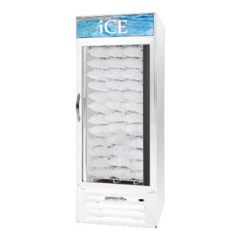 BEVMMF271WICELED - Beverage Air - MMF27-1-W-ICE-LED - 27 cu/ft White Single Door Ice Merchandiser with LED Display Product Image