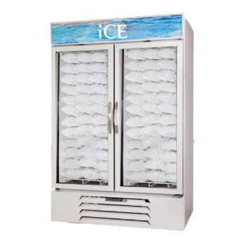 BEVMMF491WICELED - Beverage Air - MMF49-1-W-ICE-LED - 49 cu/ft White Two Door Ice Merchandiser with LED Display Product Image