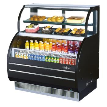 TURTOMW60SBN - Turbo Air - TOM-W-60SB-N - 60 in Black Dual-Zone Refrigerated Display Case Product Image
