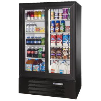 BEVLV151B - Beverage Air - LV15-1-B-LED - 36 in Lumavue™  Merchandiser with Sliding Doors Product Image