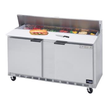 BEVSPE6024M - Beverage Air - SPE60-24M - 60 in Mega Top Sandwich Prep Table with 15 Pans Product Image