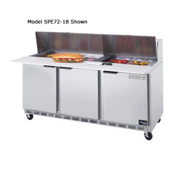 BEVSPE7212M - Beverage Air - SPE72-12M - 72 in Mega Top Sandwich Prep Table with 8 Pans Product Image