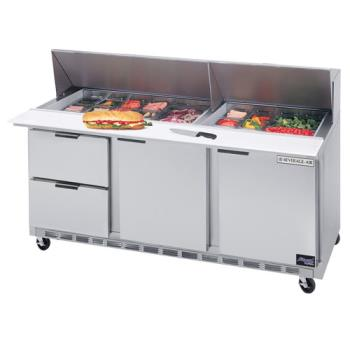 BEVSPED7224M2 - Beverage Air - SPED72-24M-2 - 72 in 2 Drawer Mega Top Sandwich Prep Table with 15 Pans Product Image