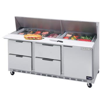 BEVSPED7224M4 - Beverage Air - SPED72-24M-4 - 72 in 4 Drawer Mega Top Sandwich Prep Table Product Image