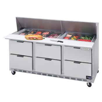 BEVSPED7224M6 - Beverage Air - SPED72-24M-6 - 72 in 6 Drawer Mega Top Sandwich Prep Table with 15 Pans Product Image