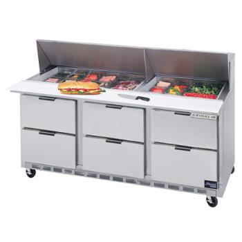 BEVSPED7230M6 - Beverage Air - SPED72-30M-6 - 72 in 6 Drawer Mega Top Sandwich Prep Table with 21 Pans Product Image