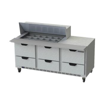 BEVSPED72HC18M6 - Beverage Air - SPED72HC-18M-6 - 72 in 6 Drawer Mega Top Prep Table Product Image
