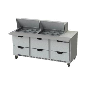 BEVSPED72HC24M6 - Beverage Air - SPED72HC-24M-6 - 72 in 6 Drawer Mega Top Prep Table Product Image