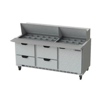BEVSPED72HC30M4 - Beverage Air - SPED72HC-30M-4 - 72 in 4 Drawer Mega Top Prep Table Product Image