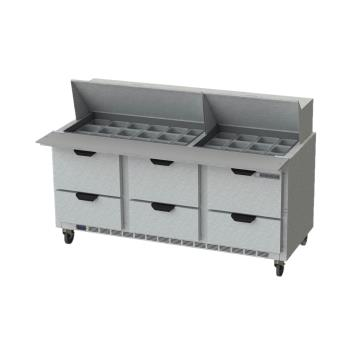BEVSPED72HC30M6 - Beverage Air - SPED72HC-30M-6 - 72 in 6 Drawer Mega Top Prep Table Product Image