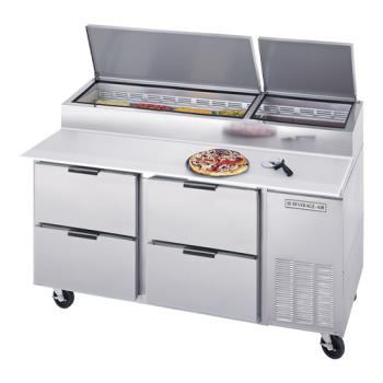 BEVDPD67HC4 - Beverage Air - DPD67HC-4 - 67 in S/S 4 Drawer Pizza Prep Table Product Image