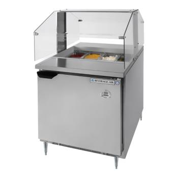 "BEVSPE27BSNZ - Beverage Air - SPE27-B-SNZ - 27"" Sandwich Prep Table w/ Sneeze Guard Product Image"
