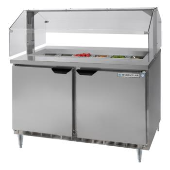 BEVSPE4812SNZ - Beverage Air - SPE48-12-SNZ - 48 in Sandwich Prep Table with Sneeze Guard Product Image