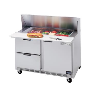 BEVSPED4808C2 - Beverage Air - SPED48-08C-2 - 48 in 2 Drawer Cutting Top Prep Table with 8 Pans Product Image