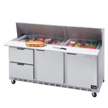 BEVSPED72082 - Beverage Air - SPED72-08-2 - 72 in 2 Drawer Sandwich Prep Table with 8 Pans Product Image