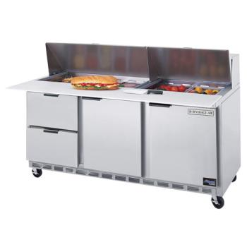 BEVSPED7208C2 - Beverage Air - SPED72-08C-2 - 72 in 2 Drawer Cutting Top Prep Table with 8 Pans Product Image